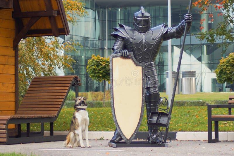 Hunden och riddaren i tung harnesk som bevakar byggnaden arkivfoton
