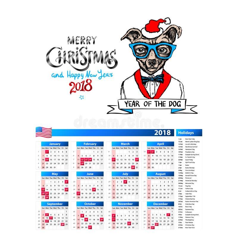 Hunden som design för santa ståendekalender 2018, året av hundmånadstidningen cards mallar, uppsättning av 12 månad, vektorillust vektor illustrationer