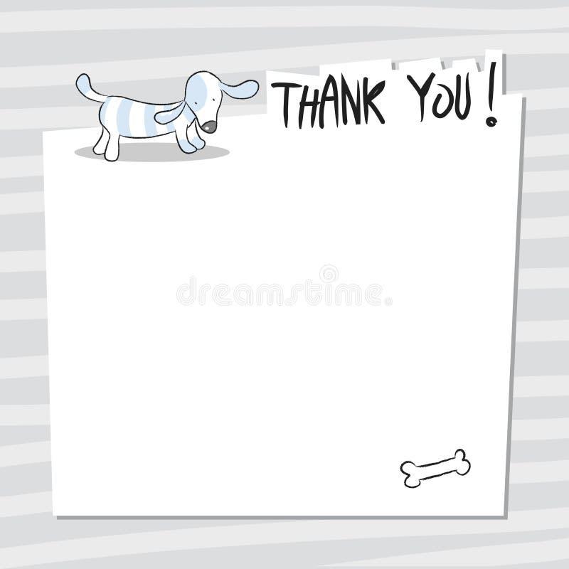 Hunden tackar dig att card stock illustrationer