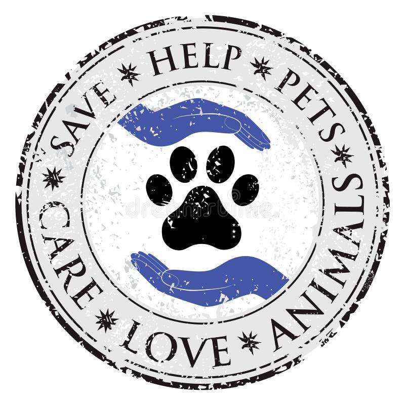 Hunden tafsar symbolen för handförälskelsetecknet Husdjursymbolet texturerade rengöringsdukknappen royaltyfri illustrationer