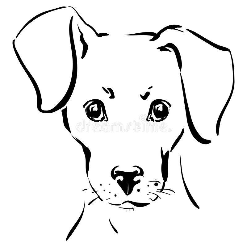 hunden tystar ned stock illustrationer
