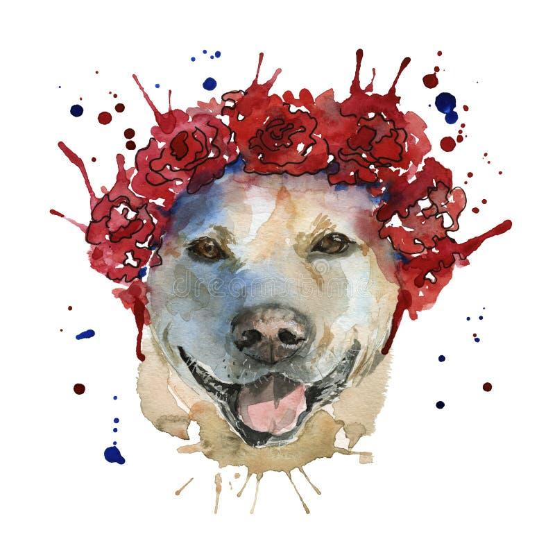 Hunden tystar ned i huvudbonaden göras i form av en wreat royaltyfri illustrationer