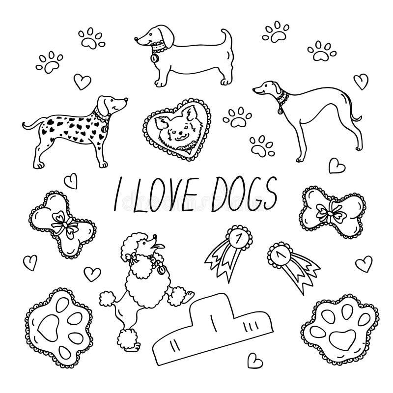 Hunderassen Eingestellt mit der Aufschrift liebe ich Hunde stock abbildung
