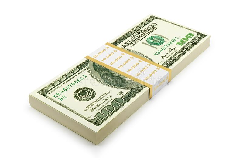 Hundered Dollar Bill 3d Render On White With Clipping Path royalty free illustration