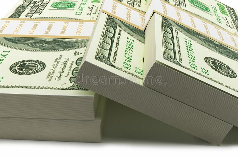 Hundered Dollar Bill 3d Render On White With Clipping Path stock illustration