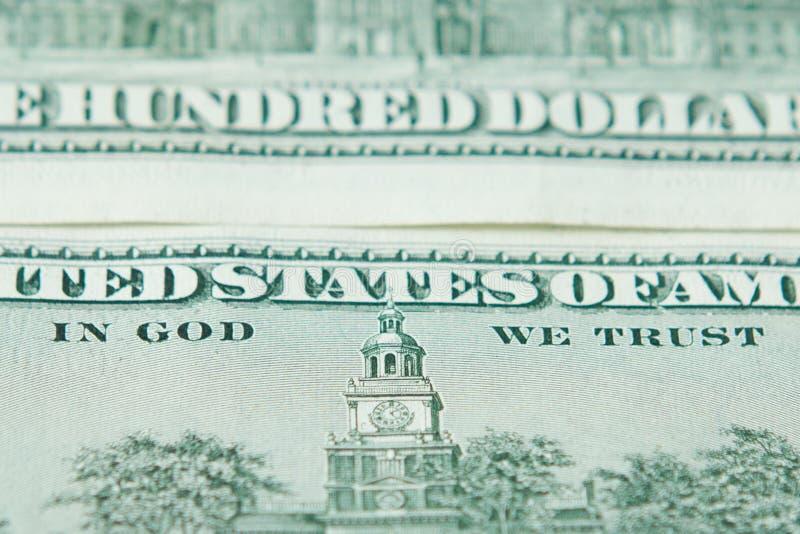 Hundert Bezeichnungsreichtum Vereinigter Staaten Geld der Dollarscheine amerikanischer im Gott wir Vertrauen stockbilder