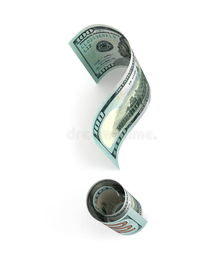 Hundert Dollar Banknote in der Form eines Fragezeichens vektor abbildung