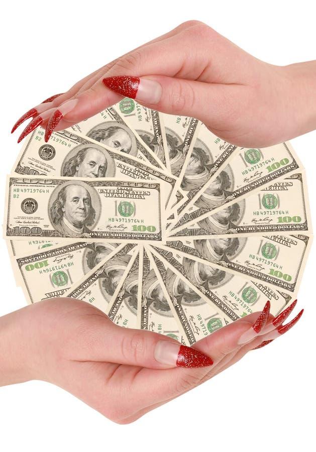 Hundert Dollar In Den Händen Stockfotos