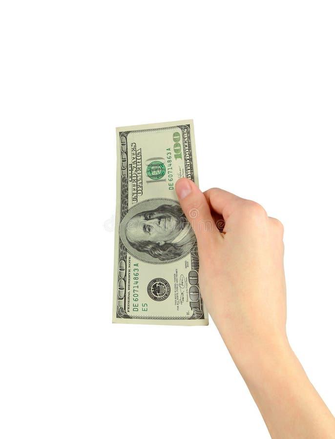 Hundert Dollar in der Hand stockbild