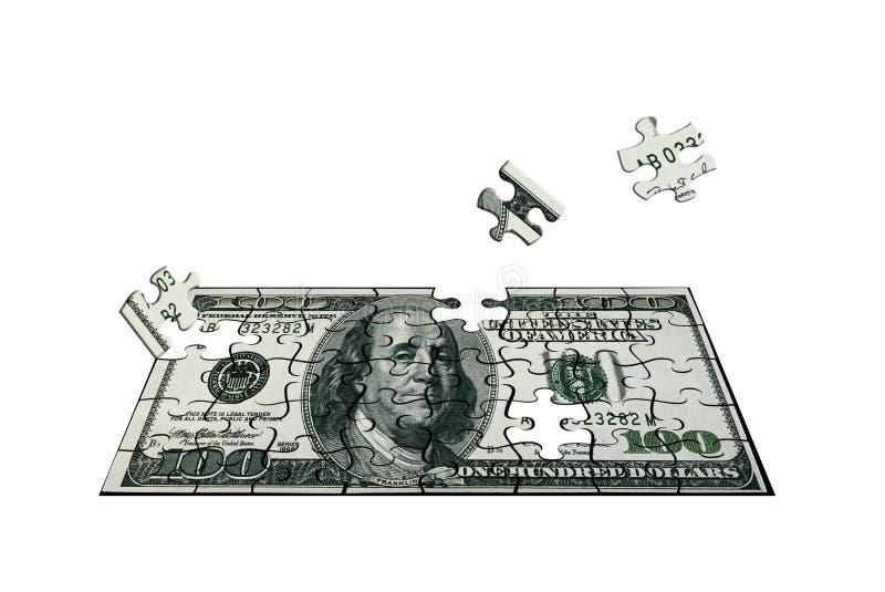 Hundert Dollar des Puzzlespiels lizenzfreie stockbilder