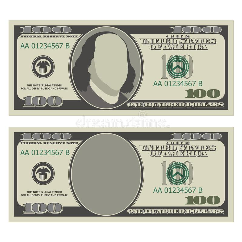 Hundert Dollarschein-Designschablone 100 Dollar der Banknote, Vorderseite mit und ohne Präsidenten stock abbildung