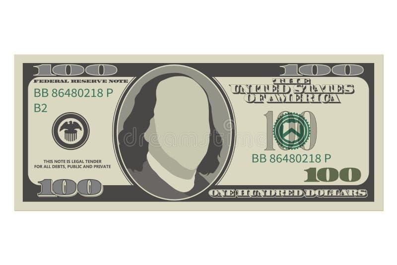 Hundert Dollarschein 100 Dollar Banknote lizenzfreie abbildung