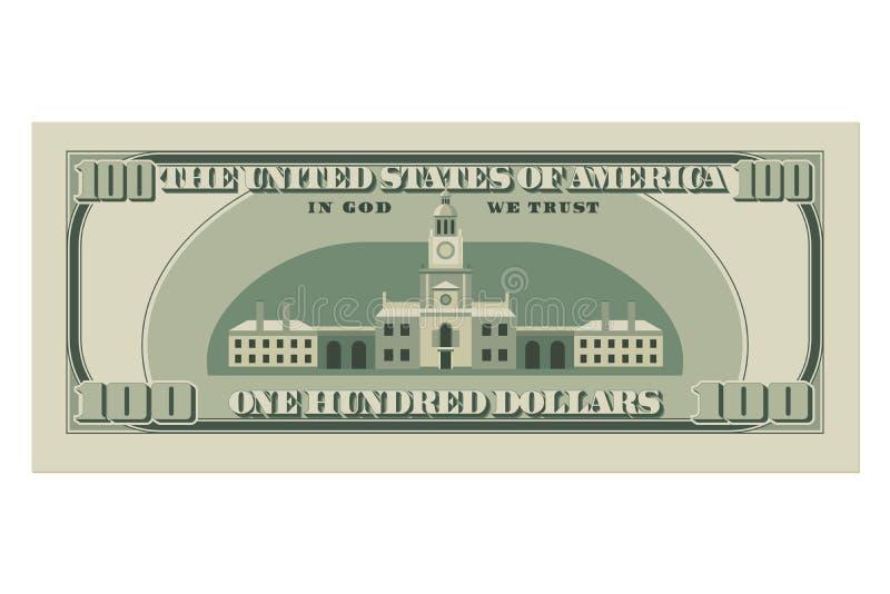 Hundert Dollarschein 100 Dollar der Banknote, Rückseite lizenzfreie abbildung