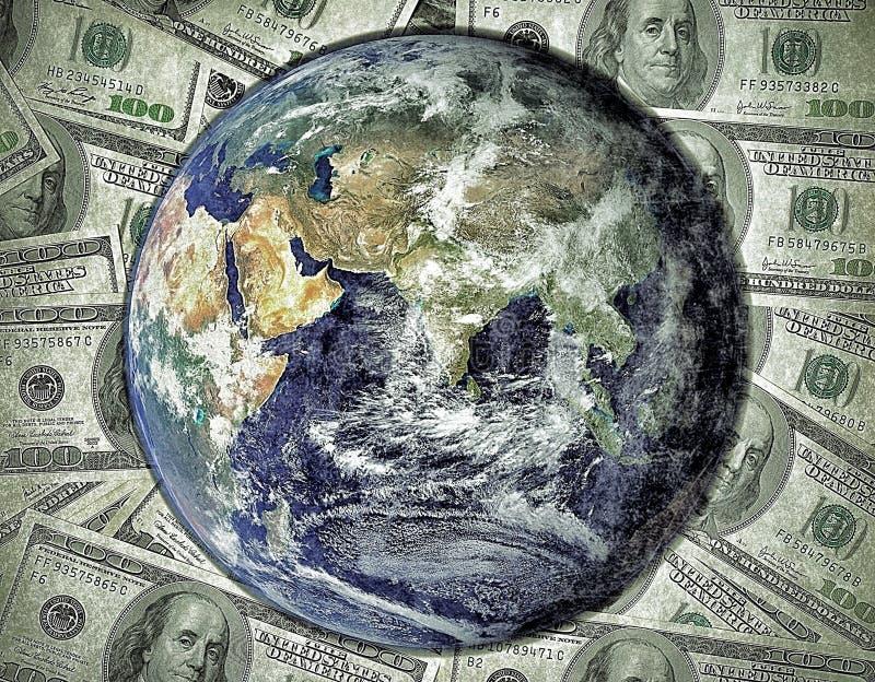 Hundert Dollarschein mit Erdwelt lizenzfreie stockfotografie