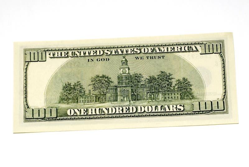 Hundert Dollarscheinrückseite lizenzfreie stockbilder