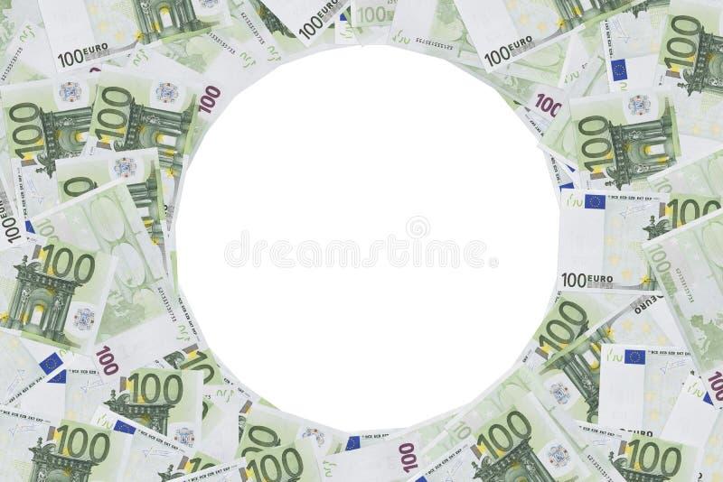 Hundert Euroanmerkungsfotorahmen lizenzfreie stockfotos