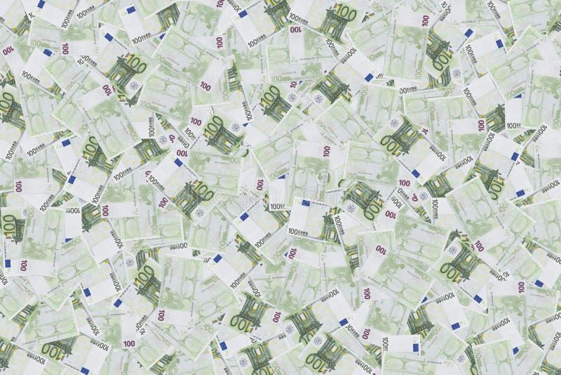 Hundert Eurobanknoten-Beschaffenheitshintergrund Hintergrund von Banknoten in 100 Euros Geldbeschaffenheit Europäisches Bargeld E stockbild