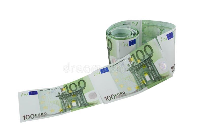 Hundert EurobanknoteToilettenpapier lizenzfreie stockbilder