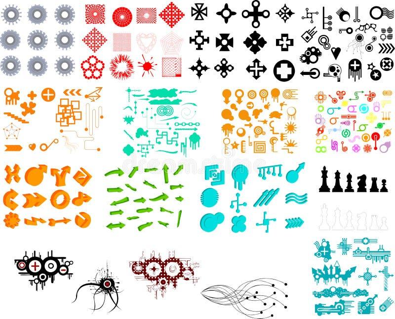 Hunderte der grafischen Elemente vektor abbildung