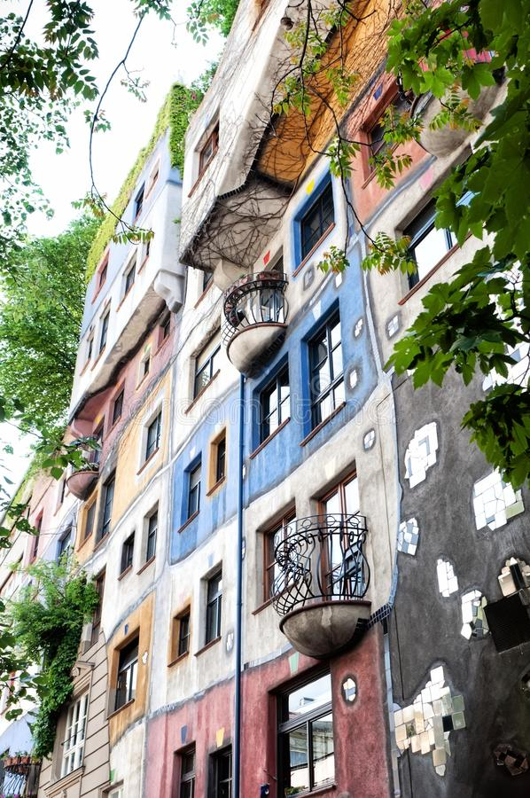 Hundertwasser House in Vienna, Austria. Hundertwasser claimed that architecture should not conformed to straight lines and flat floors as it is going against royalty free stock photography