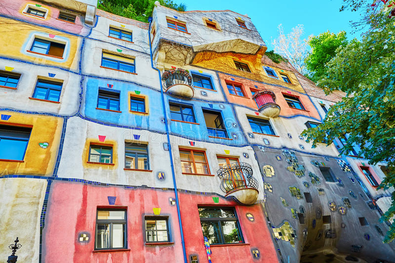 Hundertwasser house in Vienna, Austria royalty free stock images