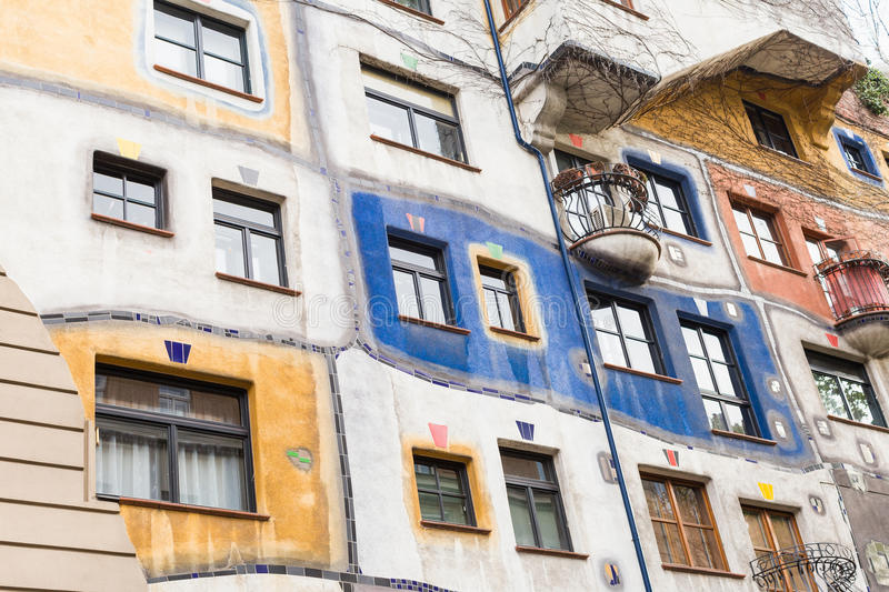 Hundertwasser house in Vienna, Austria stock photos