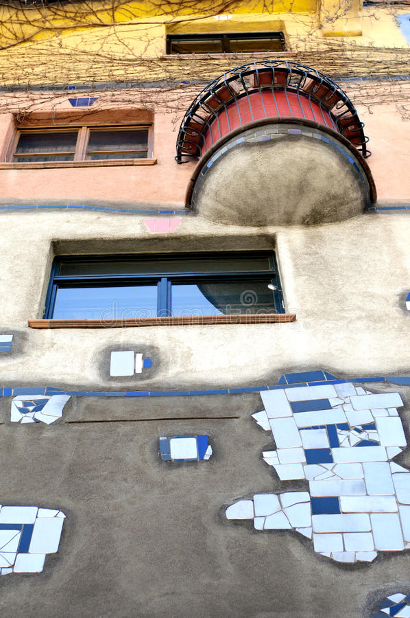 Hundertwasser House in Vienna. Hundertwasser claimed that architecture should not conformed to straight lines and flat floors as it is going against nature stock photo