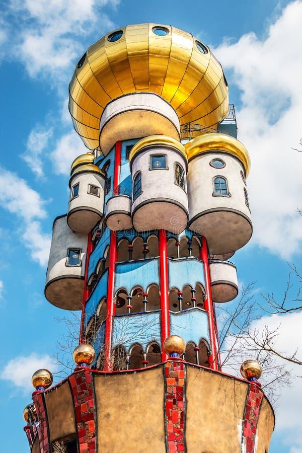 Hundertwasser Kuchlbauer Turm in Abensberg glittering in the sun royalty free stock images