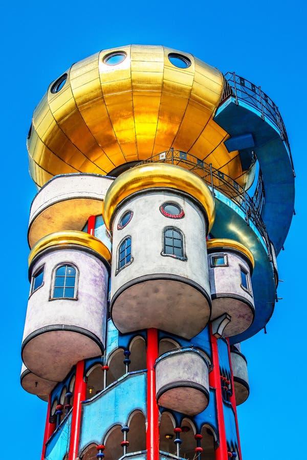 Hundertwasser Kuchlbauer Turm in Abensberg glittering in the sun royalty free stock photography