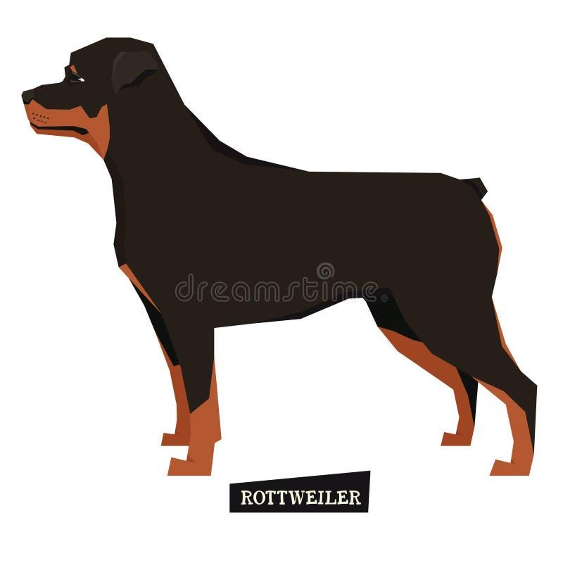 Hundesammlung Rottweiler-geometrischer Stil lizenzfreie abbildung