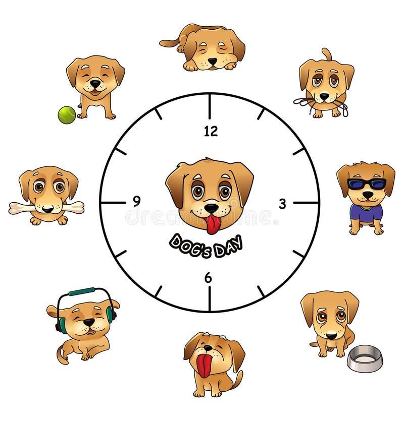Hundetägliche Tätigkeiten lustiges infographics lizenzfreie abbildung