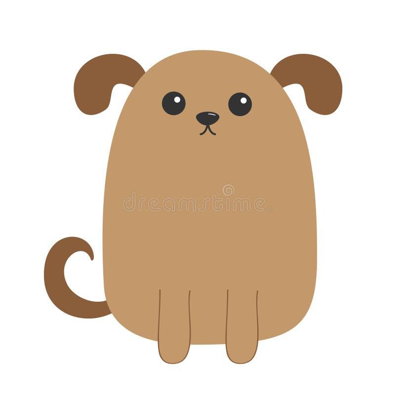 Hundewelpe Nette Zeichentrickfilm-Figur Lustiger Gesichtskopf Haustierbabysammlung Augen, Nase, Augen, Endstück Getrennt Weißer H lizenzfreie abbildung