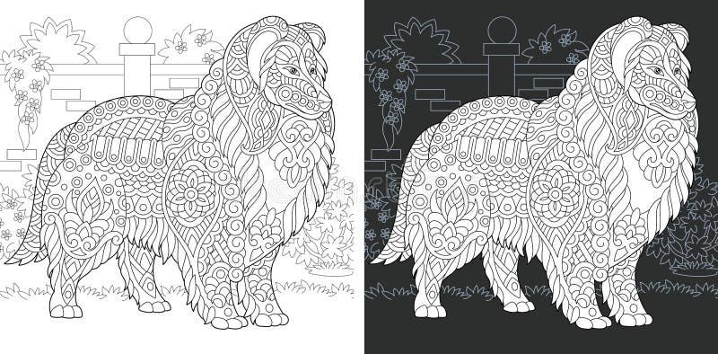 Hundfärgläggningsida stock illustrationer