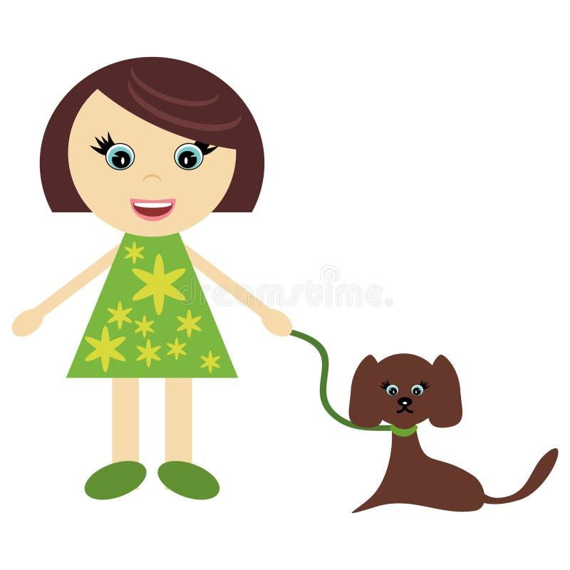 hundflicka little som är trevlig vektor illustrationer