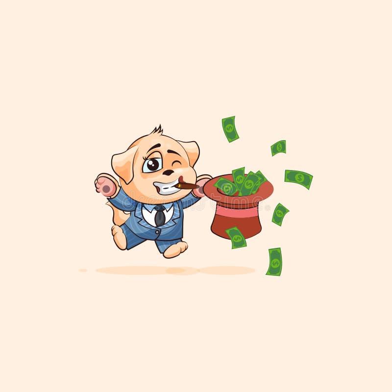 Hundgröngöling i affärsdräkt som hoppar med hatten av pengar stock illustrationer