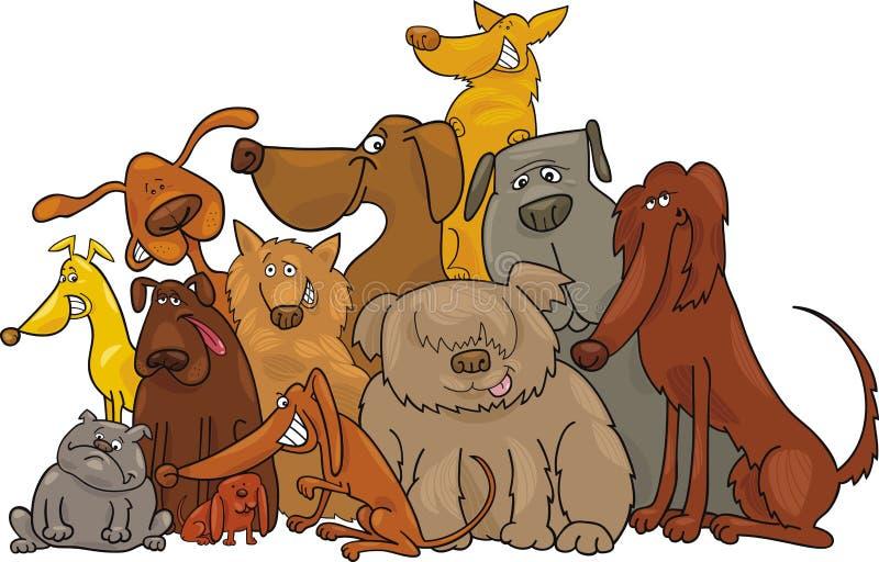 hundgrupp royaltyfri illustrationer