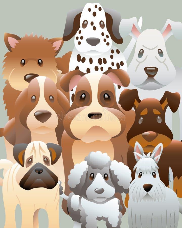 hundgruppfoto vektor illustrationer