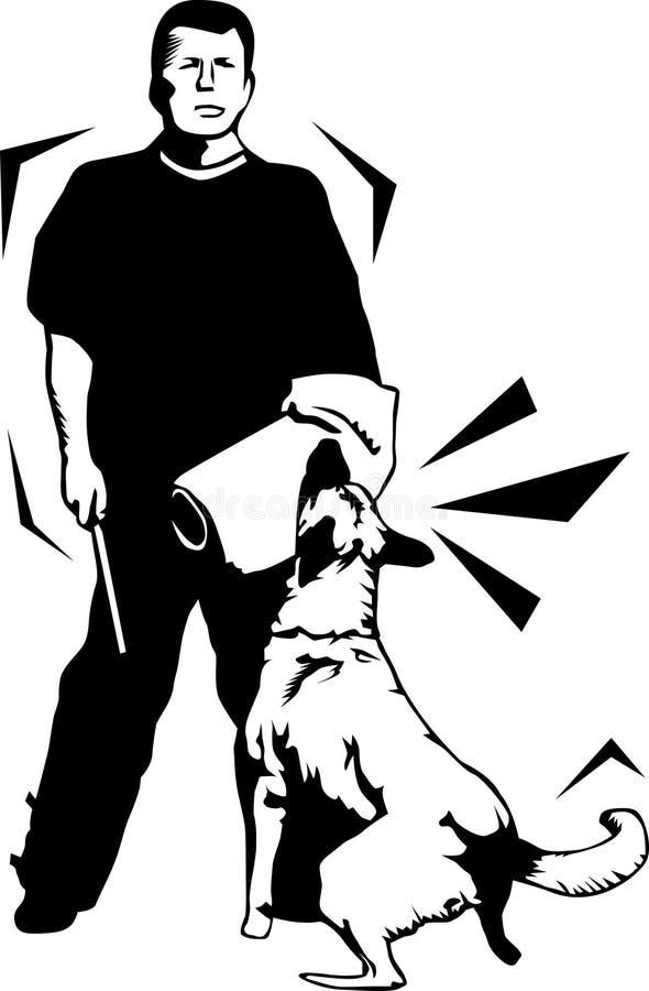 hundguardinstruktör stock illustrationer