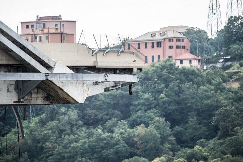 Hundimiento del puente de Morandi en Génova, Italia foto de archivo libre de regalías