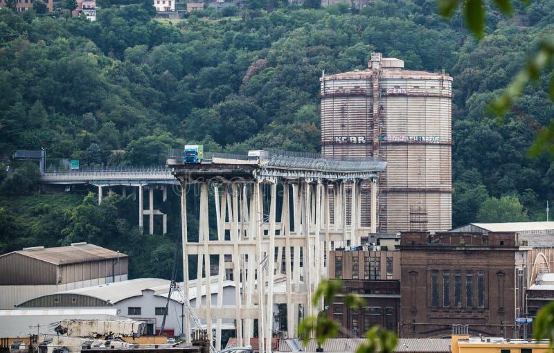 Hundimiento del puente de Morandi en Génova, Italia fotos de archivo libres de regalías