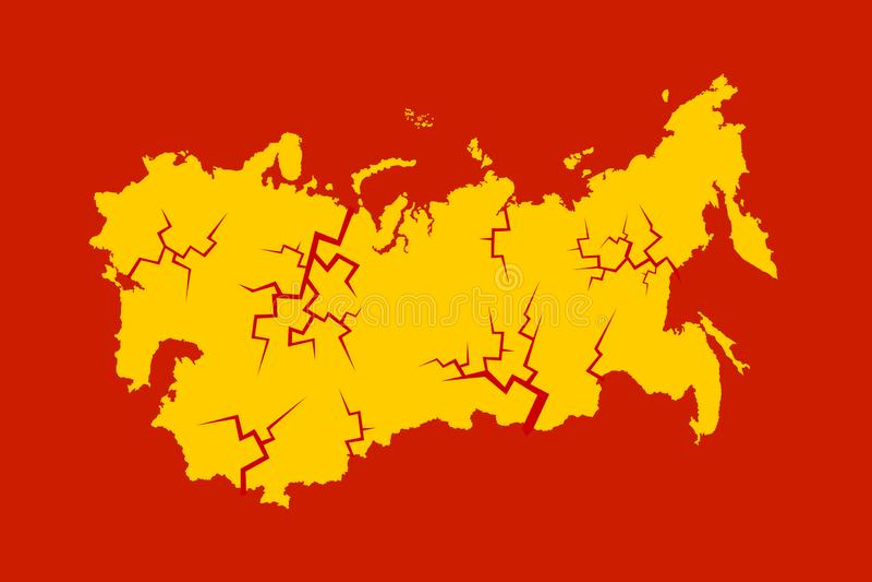 Hundimiento, disolución y desintegración de Unión Soviética ilustración del vector