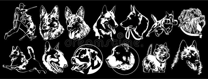 Hundkapplöpning av olika avel som är passande för broderi stock illustrationer