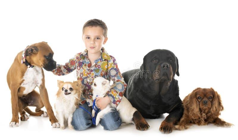 Hundkapplöpning och barn arkivfoto