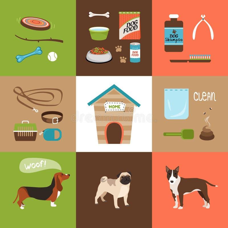 Hundkapplöpning och hundtillbehör stock illustrationer