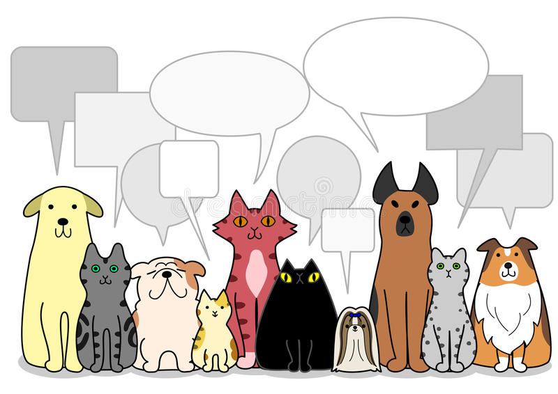 Hundkapplöpning- och kattgrupp med anförandebubblor stock illustrationer