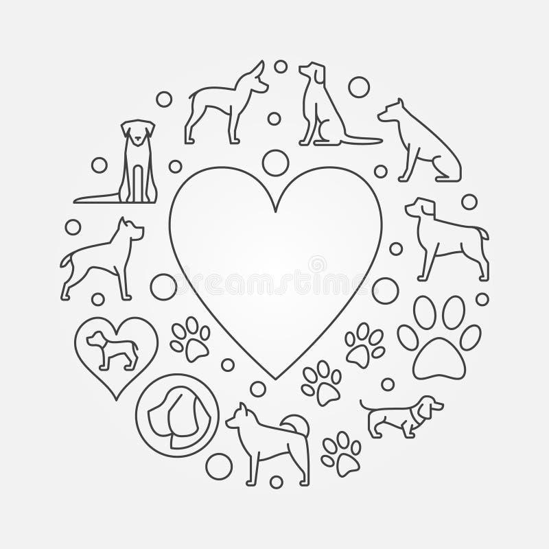 Hundkapplöpning och rund illustration för hjärta royaltyfri illustrationer