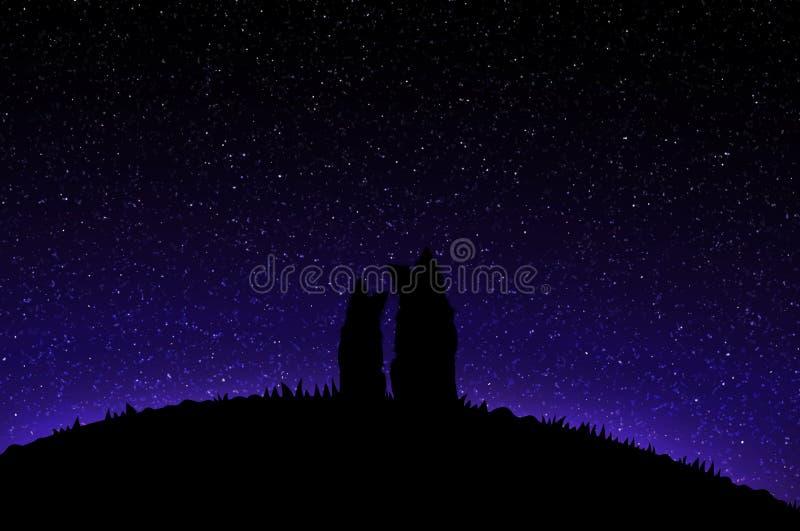 Hundkapplöpning och stjärnklar himmel stock illustrationer
