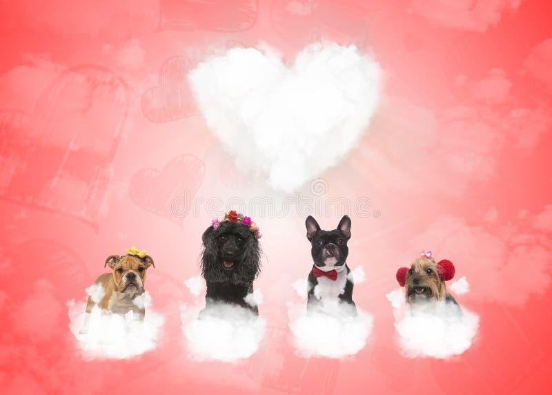 Hundkapplöpning på pösiga moln med stor hjärta i bakgrunden royaltyfri illustrationer