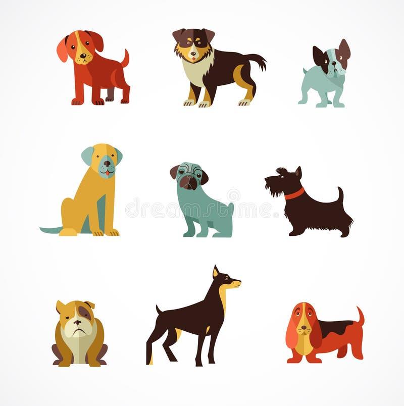 Hundkapplöpningsymboler och illustrationer stock illustrationer