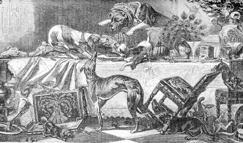 Hundlagparti på en äta middag tabell, roligt gammalt tryck stock illustrationer